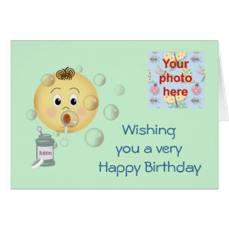 Happy Birthday with child bloeing bubbles Card
