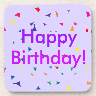 Happy Birthday with Colorful Confetti on Purple Coaster