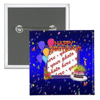 Happy Birthday With Confetti  Photo Frame 15 Cm Square Badge