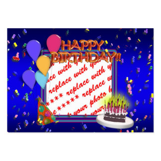 Happy Birthday With Confetti Photo Frame Business Card Template