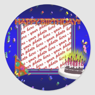 Happy Birthday With Confetti  Photo Frame Classic Round Sticker