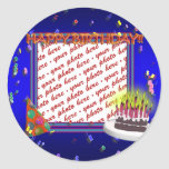 Happy Birthday With Confetti  Photo Frame Round Stickers