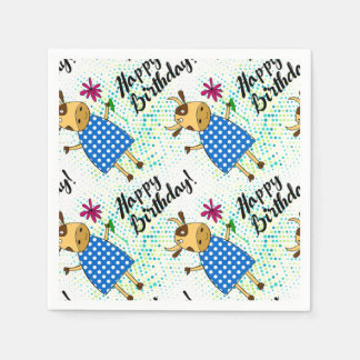 """Happy Birthday"" with cute doodle cow Disposable Serviettes"