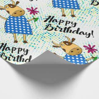 """""""Happy Birthday"""" with cute doodle cow Wrapping Paper"""