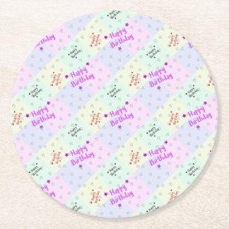 Happy birthday with diamonds round paper coaster