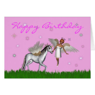 Happy Birthday with fairy and pegasus Card