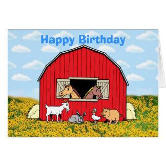 Happy birthday with farm animals card