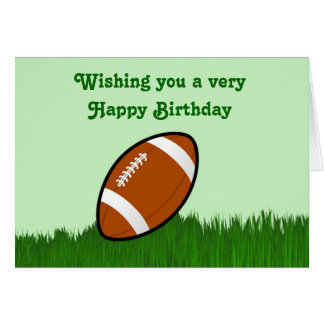 Happy Birthday with football on grass Card