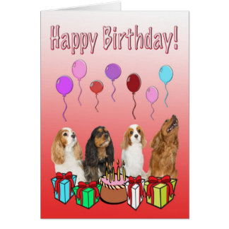 Happy Birthday With Four Spaniels Greeting Card
