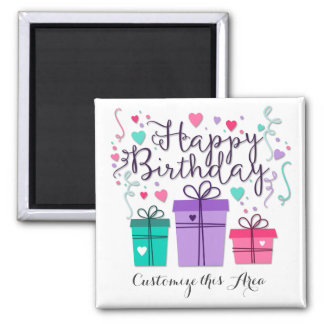 """Happy Birthday With Gift Boxes"" Customize Magnet"
