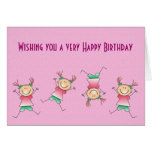 Happy Birthday with girl doing handstand Card