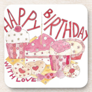 Happy Birthday With Love Drink Coaster