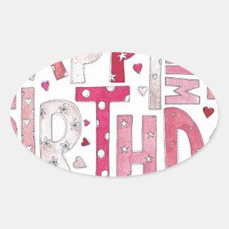 Happy Birthday With Love Oval Sticker