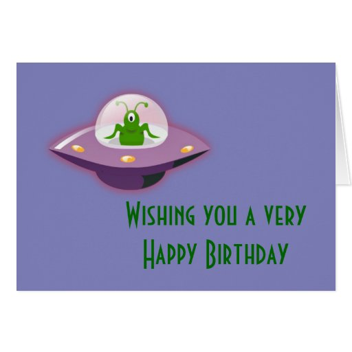 Happy Birthday With Martian Alien Greeting Card