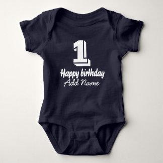 Happy Birthday with Name Baby Bodysuit