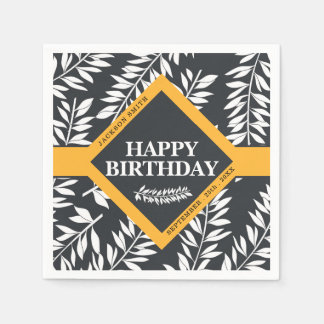 Happy Birthday with Name in Black and White Disposable Serviettes