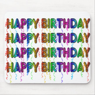 Happy Birthday with Party Streamers Mouse Pad