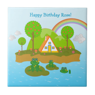 Happy Birthday with the frogs Small Square Tile