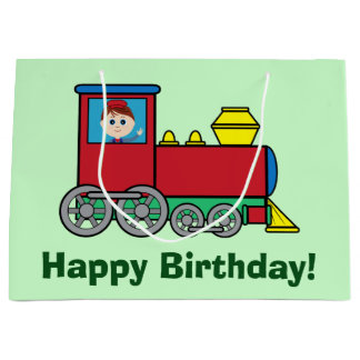 Happy Birthday with Train and Waving Boy Large Gift Bag