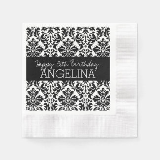 Happy Birthday with Trendy Black and White Damask Disposable Serviette