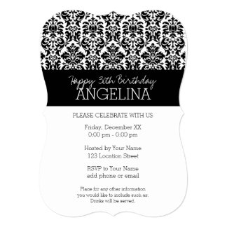Happy Birthday with Trendy Black and White Damask 13 Cm X 18 Cm Invitation Card