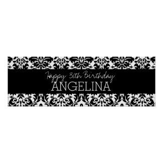 Happy Birthday with Trendy Black and White Damask Print