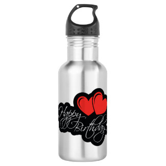 Happy Birthday with two red hearts 532 Ml Water Bottle