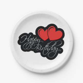 Happy Birthday with two red hearts 7 Inch Paper Plate