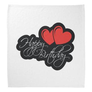 Happy Birthday with two red hearts Bandana