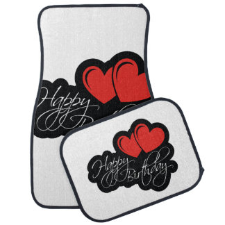 Happy Birthday with two red hearts Floor Mat