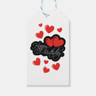 Happy Birthday with two red hearts Gift Tags