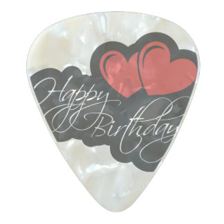 Happy Birthday with two red hearts Pearl Celluloid Guitar Pick
