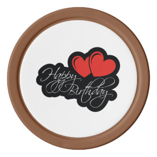 Happy Birthday with two red hearts Poker Chip Set