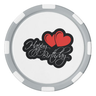 Happy Birthday with two red hearts Poker Chips