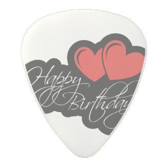 Happy Birthday with two red hearts Polycarbonate Guitar Pick