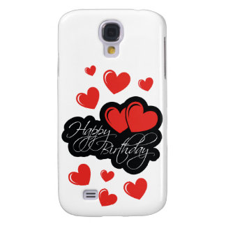 Happy Birthday with two red hearts Samsung Galaxy S4 Case