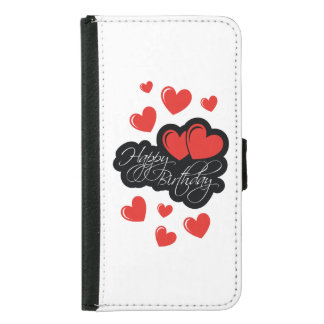 Happy Birthday with two red hearts Samsung Galaxy S5 Wallet Case