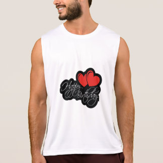 Happy Birthday with two red hearts Singlet