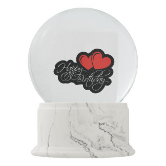 Happy Birthday with two red hearts Snow Globes