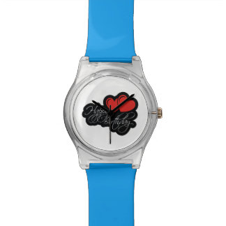 Happy Birthday with two red hearts Watch