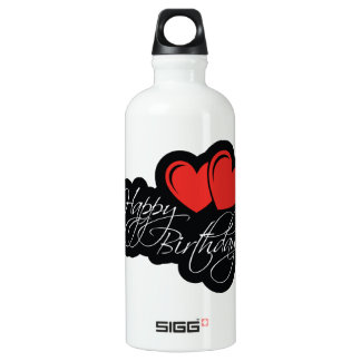Happy Birthday with two red hearts Water Bottle