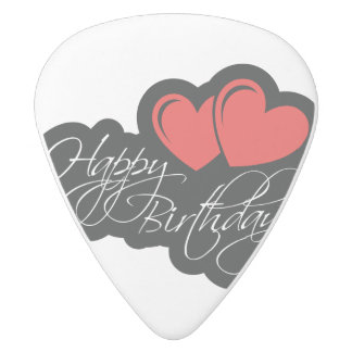 Happy Birthday with two red hearts White Delrin Guitar Pick