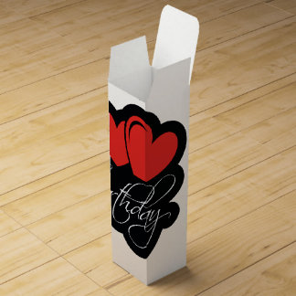 Happy Birthday with two red hearts Wine Gift Box