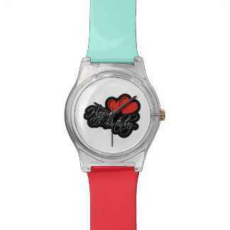Happy Birthday with two red hearts Wristwatches