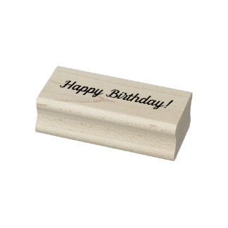 Happy Birthday Wooden Block Mounted Rubber Stamp