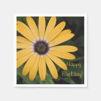 Happy Birthday Yellow Daisy Disposable Napkin