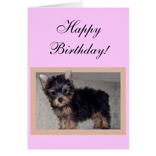 Happy Birthday Yorkie Puppy Greeting Card