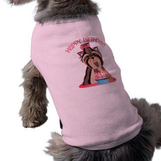 Happy Birthday Yorkie Shirt for Dogs Sleeveless Dog Shirt