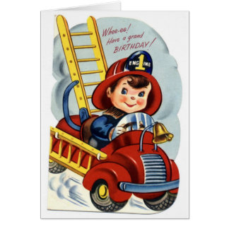 Happy Birthday - Young Fireman Greeting Card