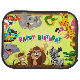 Happy birthday zoo animals car mat